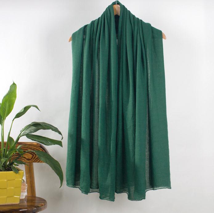 8e79a2448d81 Nouveau Vert Long Coton Écharpe Châle Femme Printemps Automne Foulards  Echarpes Solide Couleur Wrap Silencieux Bufanda 180 80 cm NP102
