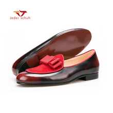 Jeder Schuh Genuine Leather and Nubuck Leather stitching with Bowtie men handmade luxurious flats Men's banquet classic loafers