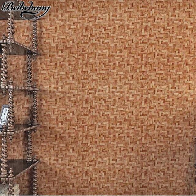 Beibehang Cina Wallpaper Simulasi Bambu Tikar Rumput Dinding Latar Belakang Papel De