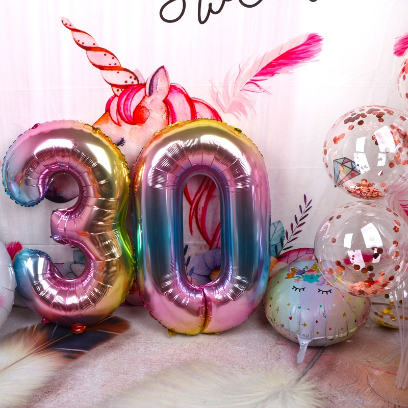 1pcs 40 39 39 Rose Gold Silver Gradient Number Foil Helium Balloons 0 9 Birthday Wedding Party Decor Globos Kids Toys Ball Supplies in Ballons amp Accessories from Home amp Garden
