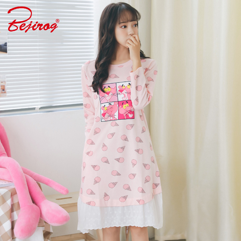Bejirog women sleepwear pink stitch cotton   nightgowns     sleepshirts   autumn winter long sleeve clothing for girls onesies plus size