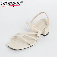 TASSLYNN 2018 Rome Style Women Sandals Elegant Beige Summer Gladiator Sandals Woman Shoes Square High Heels Party Shoes Size 39