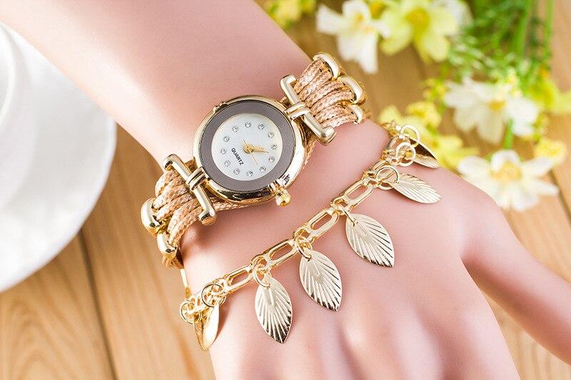 2016 Ebay Good Selling Leaf Pendant Multilayer Snake PU Leather Band Women Charm Bracelet Wrist Watches Relogio Geneva WatchZB80