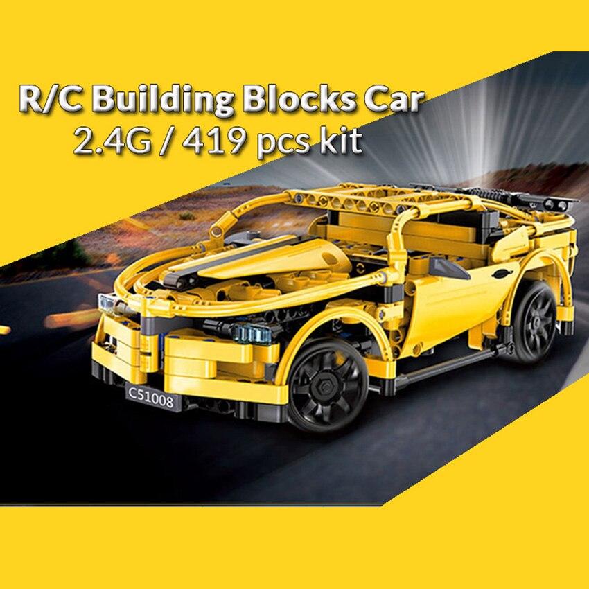 419 unids RC Building Blocks Car amarillo Camar Model Building Kit - Juguetes de construcción - foto 3