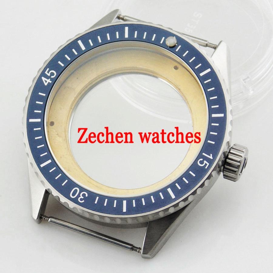 43mm sapphire Case fit Parnis mens watch Miyota 8205/8215,ETA 2836/2824 mingzhu DG2813 bezel watch цена
