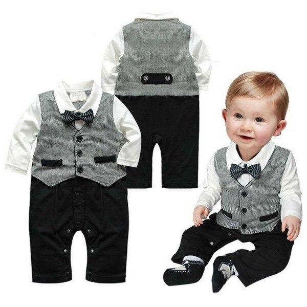 c9c24bf9d5765 Bébé garçon vêtements ensemble formel Gentleman infantile vêtements bébé  costume à manches longues bouton cravate costume barboteuse 0 18 M dans  Vêtements ...