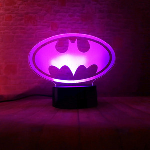 Image 5 - Amroe DC Justice League Marvel Batman Symbol 7 Color Dimming Auto 3D Night Light Child Kids Table Lamp Birthday Xmas Toys Gifts