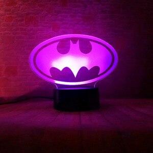 Image 5 - Lampara de mesa para niños, regalos de cumpleaños o de Navidad, de la Liga de la justicia de Marvel, Batman, 7 colores, luz nocturna 3D