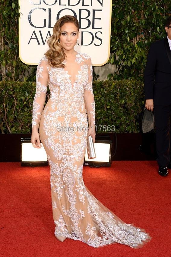 Jennifer Lopez Zuhair Murad Lace Long Sleeves the 71th Annual Golden Globe Awards Celebrity Dress 2014 Red Carpet Evening Gowns 0114B 169 (1).jpg