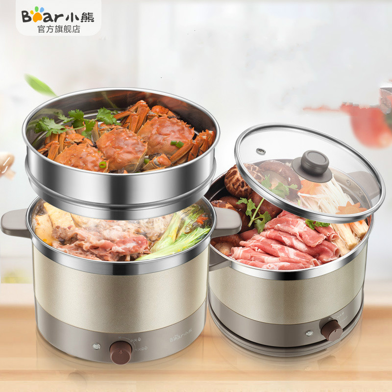 Bear Electric Multi Cooker 800W Stainless Steel Steamer Adjustable Firepower Dormitory Electric Boiler Electric Hot Pot Noodles bear ddz b12d1 electric cooker waterproof ceramics electric stew pot stainless steel porridge pot soup stainless steel cook stew