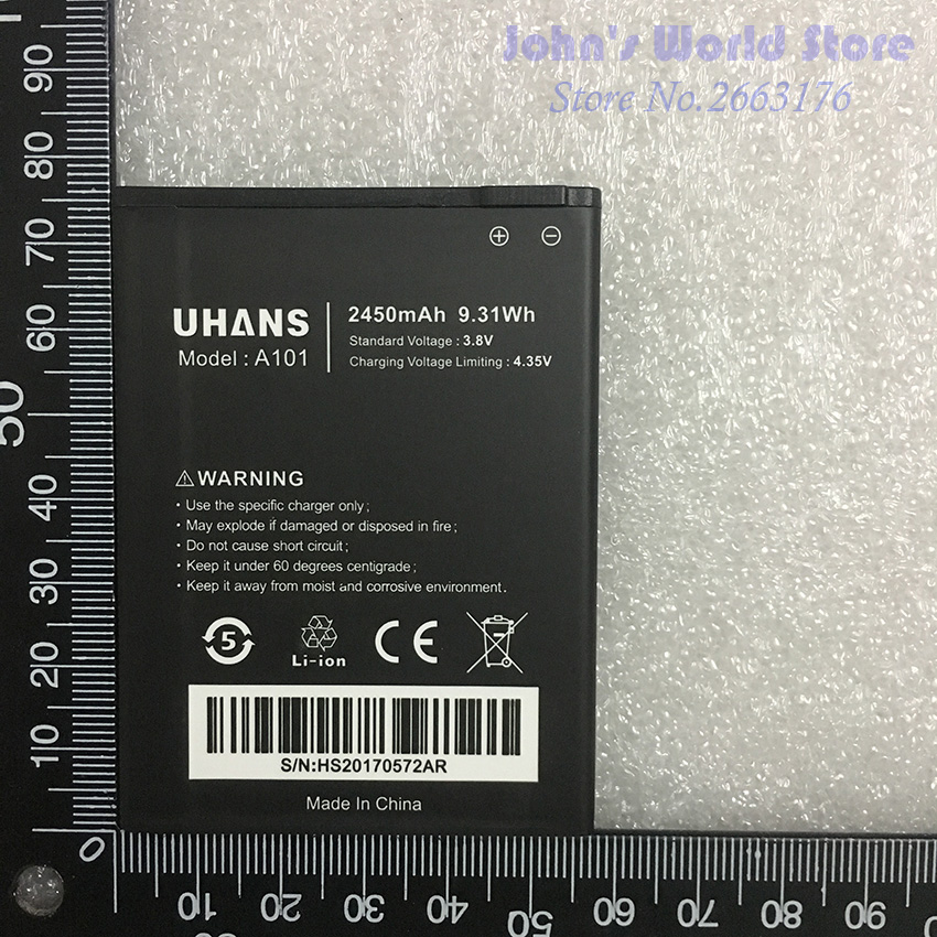 100 Original New For UHANS A101 A101S 2450mAh UHANS Mobile Phone battery Smartphone Replacement Battery in Mobile Phone Batteries from Cellphones Telecommunications