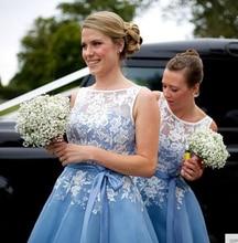 Scoop A-linie Chiffon Brautjungfer Kleider Mit Spitze Appliques Hellblau Frauen Party Prom Kleid