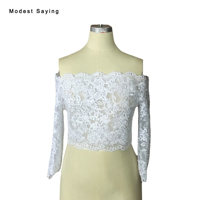 Real Photo Elegant White Beaded Lace Bridal Boleros 2017 Long Sleeves Wedding Jackets Applique novia Wedding Accessories BLB140