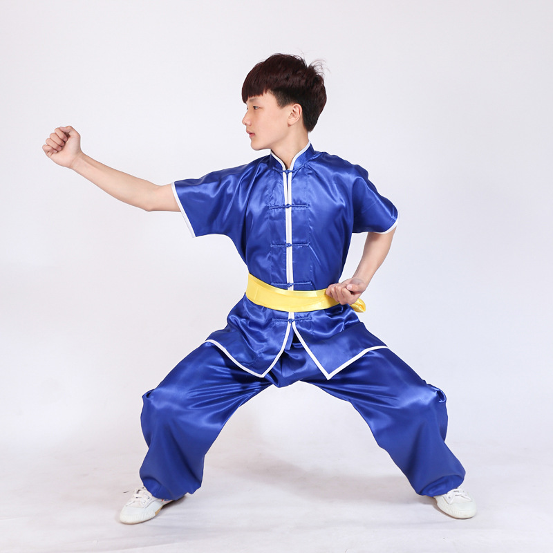 Wushu Uniform Stage Performance Short Sleeve Tai Chi Clothing Kung Fu Suits Taijiquan Practice Performance Wear Kid To Adult