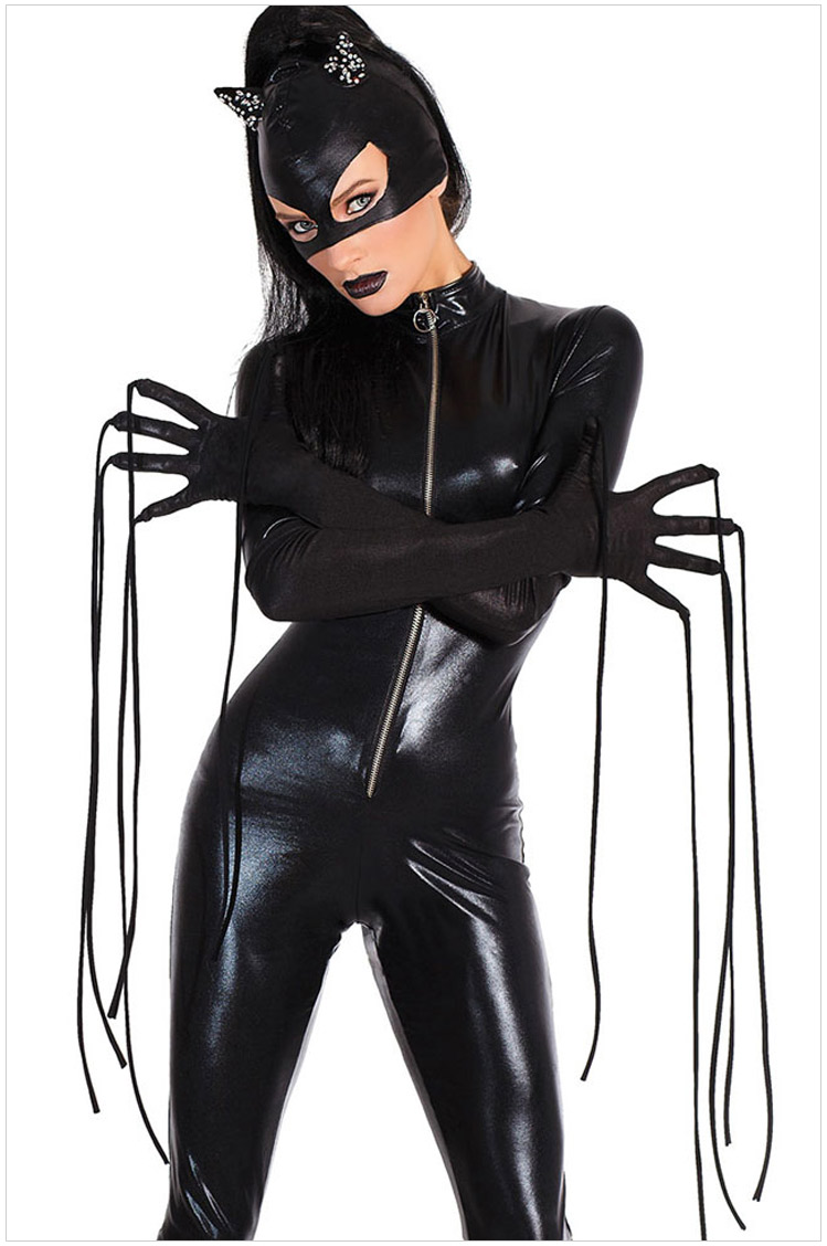 Black leather uniform gloves - Sexy Faux Leather Bodysuit Catsuit Women Jumpsuit Mask Gloves Halloween Catwoman Cosplay Costumes Outfit