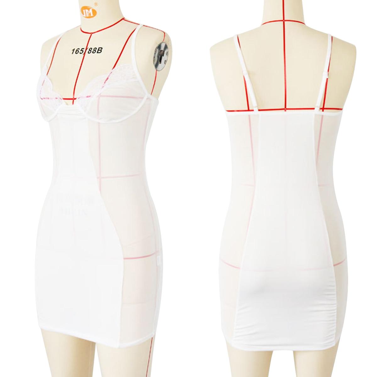 Woman Mesh Dress - Mini, Perspective, Black/White