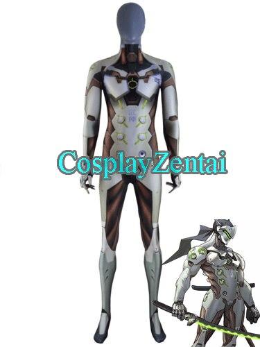 2018 New Game Genji Cosplay Costume 3D Print Spandex Genji Zentai Bodysuit