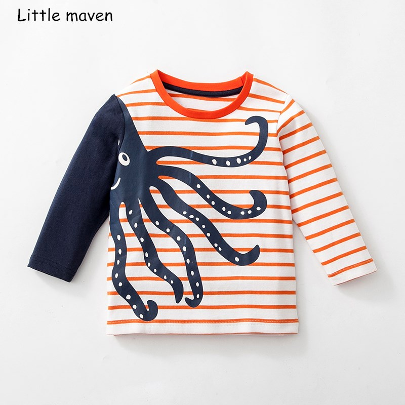 Little maven children brand baby boy clothes 2018 autumn new boys cotton long sleeve O-neck octopus print striped t shirt D1057 cotton bull and letters print round neck short sleeve t shirt