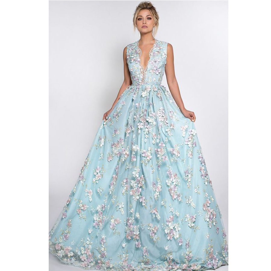 2017 Sky Blue Embroidery Appliques Haute Couture Prom Dresses Long ...