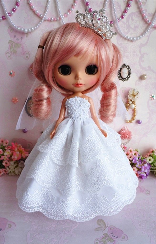 89# Cute Handmade Long Wedding Dress For Blyth Pullip Doll цена