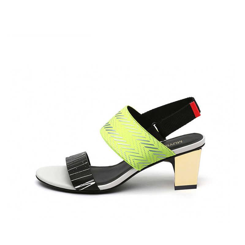 """Giày sandal Mùa Hè Dày Gót Vuông 5 cm Chun Giày Cao Gót Nữ Giày Nữ Võ Sĩ Giác Đấu Sandalias Mujer """"HL152 MUYISEXI"""