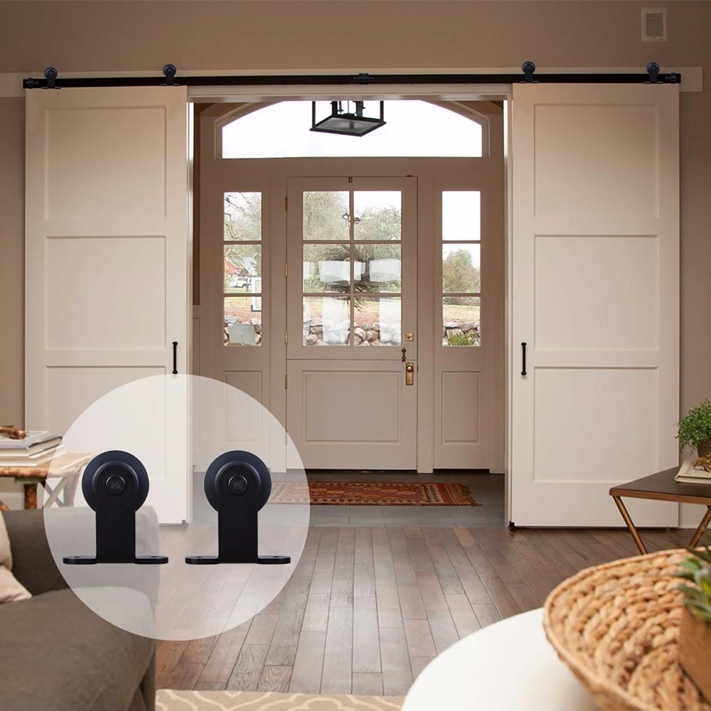 LWZH Classic Style Black Steel T Shaped Interior Closet Sliding Barn Door Hardware Wood Door Kits for Double Door 14FT/15FT