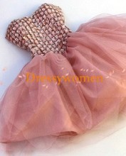 2015 Gorgeous A-Line Sweetheart Beading Organza Homecoming Dresses Prom gowns  zipper Short Party dresses Custom Made