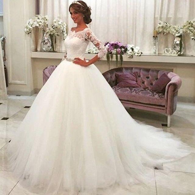 Romantische Weiße Tulle Perlen Gürtel Ballkleid Brautkleider 2017 ...