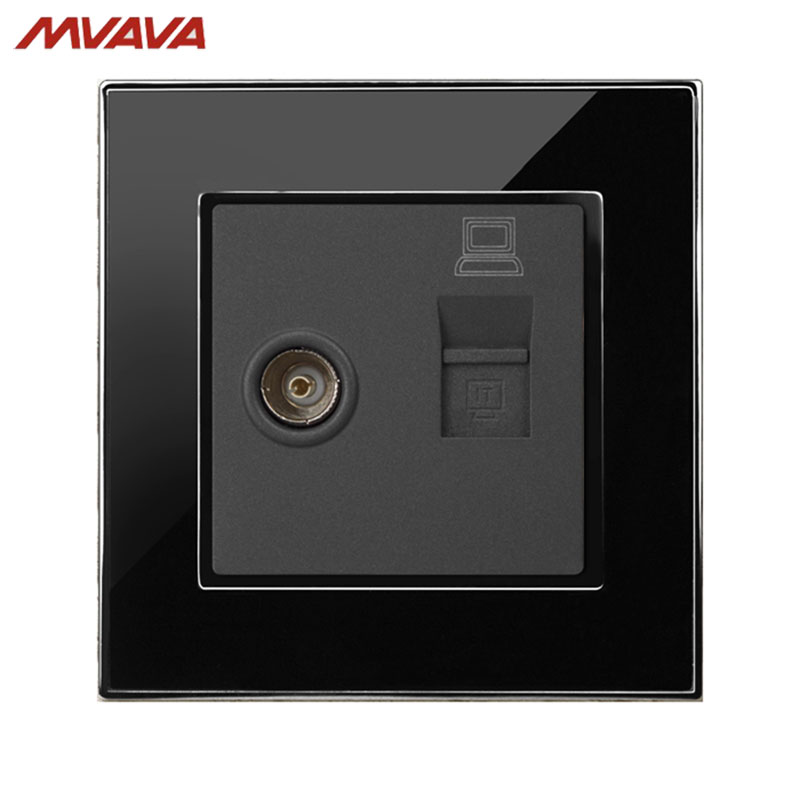 MVAVA Computer Data+TV Receptacle RJ45 Data Outlet Internet Jack Plug Wall Decorative Socket Luxury Mirror Black Free Shipping universal three inserted multifunctional tabletop french socket with rj45 black silver free shipping