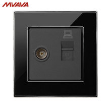 MVAVA Computer Data+TV Receptacle RJ45 Data Outlet Internet Jack Plug Wall Decorative Socket Luxury Mirror Black Free Shipping недорго, оригинальная цена