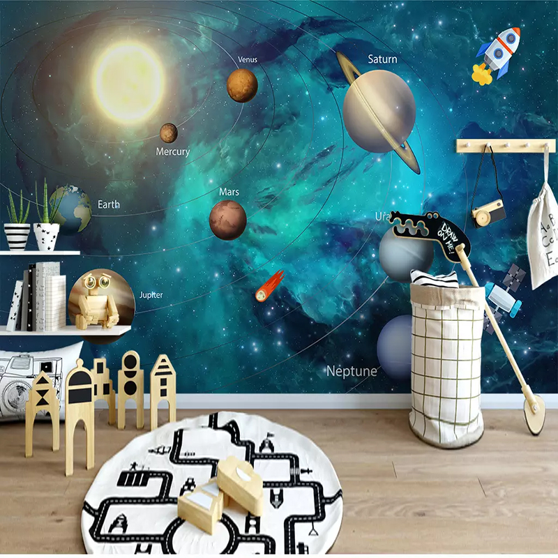 Children's Room Hand-painted Space Universe Moon Background Custom 3D Photo Wallpaper Volume Romantic Living Room Sofa 3D Mural