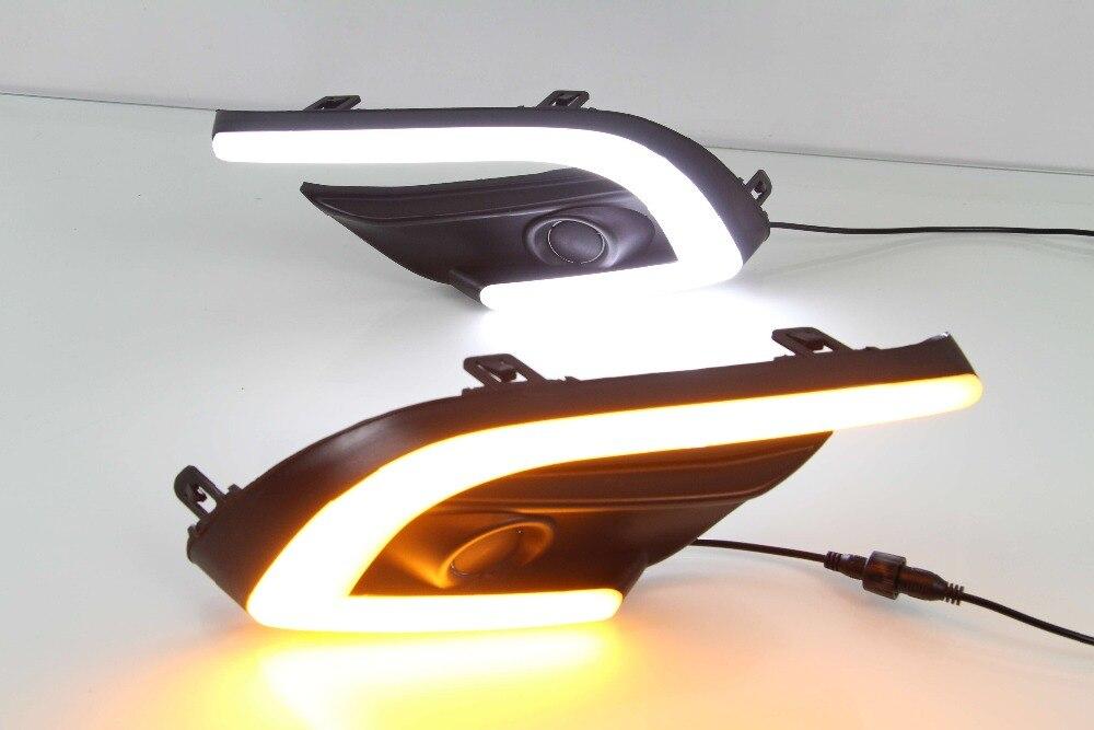 Osmrk светодиодный белый дневного света DRL + желтый сигнал поворота для Mazda 3 axela 2016-17