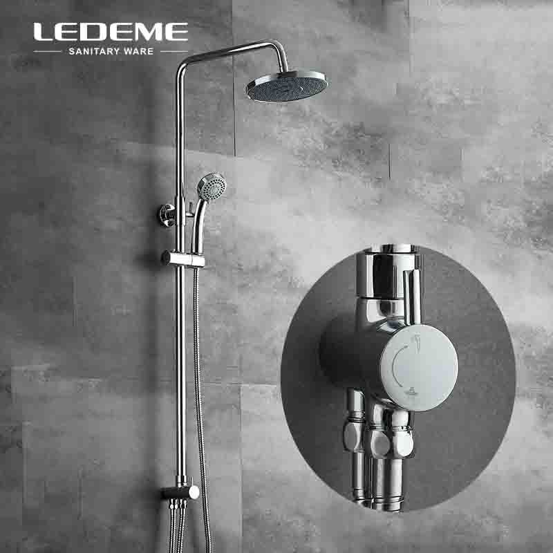 LEDEME Chrome Exposed 2- Spray Mode Bath Shower Faucet Sets with 8 inch Rainfall Shower Head 3-funtion ABS Handhead Shower L2400