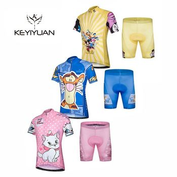 Hot 2018 KEYIYUAN Summer Children Cycling Jersey Padded Bike Clothing Road Bicycle Sportswear Bike Jersey A variety of styles