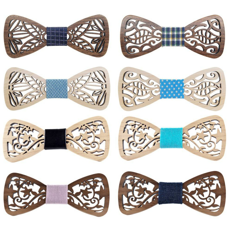 New Wood Bow Tie Mens Wooden Bow Ties Gravatas Corbatas Business Butterfly Cravat Party Ties For Men Wood Ties