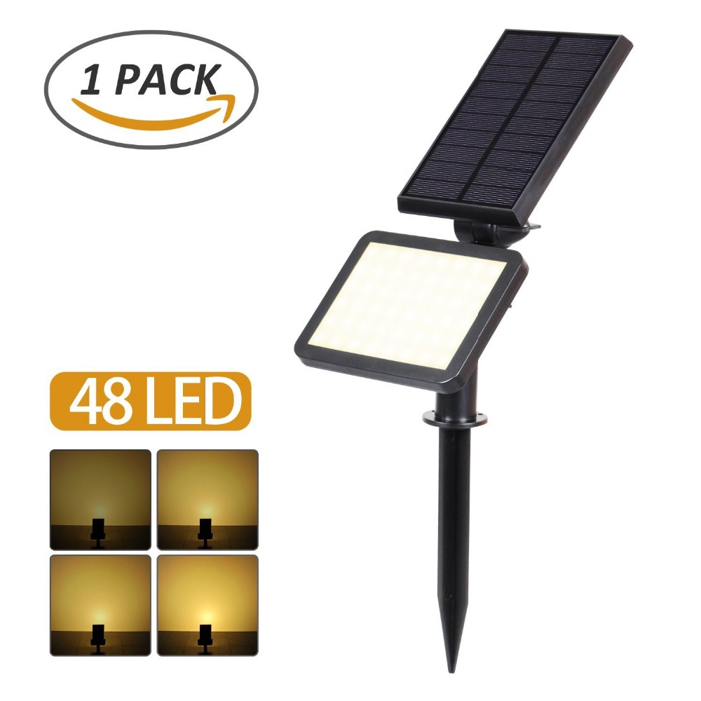 T-SUNRISE 48 LED Solar Spotlight Outdoor Waterproof LED Solar Powered Landscape Garden Lights Solar Adjustable Spotlights Lamp
