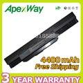 Apexway 10.8 v 4400 mah 6 celdas de batería portátil para asus k53s a43 K43 K53 X43 k53U A43B A53B K53 K53B X43B Series A32 A42-K53