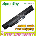 Apexway 10.8V 4400mAh 6 cells laptop battery for Asus k53s A43 K43 K53 k53U X43 A43B A53B  K53B X43B Series A32 K53 A42-K53