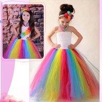 Candy Rainbow Girls Carnival Costume Tulle Tutu Dress Children Wedding Dresses Girl Photo Props Summer Clothing