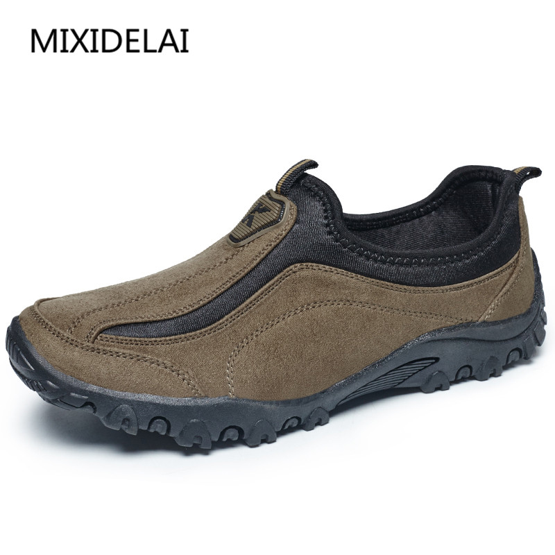 MIXIDELAI Suede Leather Mens Shoes Casual Outdoor Slip On Oxfords Durable Trek Shoes For Men Walking Shoes Outventure Sapatos suede slip on mens shoes