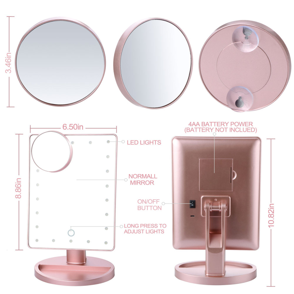 Купить с кэшбэком Fashion Makeup Mirror 22 LED Lights Touch Screen Bright Adjustable USB Or Batteries Use with 16 Lights Factory price