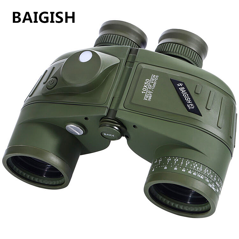 BAIGISH Binoculars Powerful Russian Military 10x50 Marine Telescope Digital Compass Low-Light Level Night Vision Binocular 10x50 outdoor military binocular army green marine prismatic binoculars hot sale
