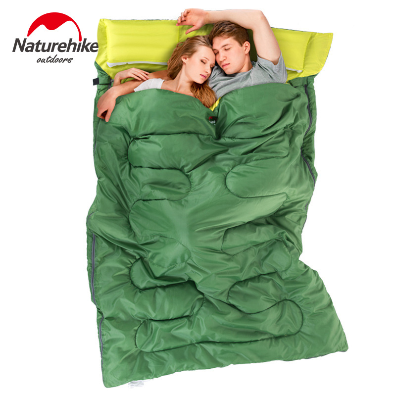Naturehike Outdoor 2.15m*1.45m Double Sleeping Bag Spring and Autumn Camping Hiking Portable Envelope Sleeping Bag with Pillow naturehike portable double sleeping bag liner bags 2colors 2200x1600mm ultra light spring summer camping envelope lazy bag 850g