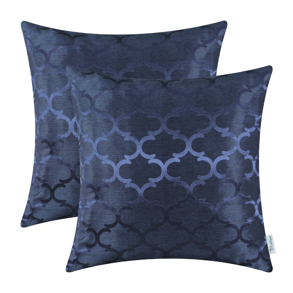 2PCS CaliTime Cushion Covers Pillows Shell Quatrefoil Accent Geometric 18 X 18(45cm X 45cm) Navy Blue