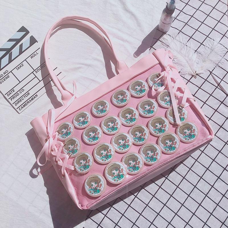Image 3 - Japanese Sweet Lolita Harajuku Transparent Itabag JK Ita bag Cosplay Girl Shoulder bag Preppy Style Kawaii Mori Girls Travel Bag-in Shoulder Bags from Luggage & Bags