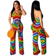 Colorful Striped Print Strapless Jumpsuits And Rompers For Women 2019 Summer Backless Palazzo Pants Overalls With Sashes Rainbow