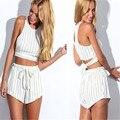 2017 Trendy Lady Sleeveless Chiffon Tank Tops Striped Shorts with Belt 2pcs Shorts Sets Casual Clubwear