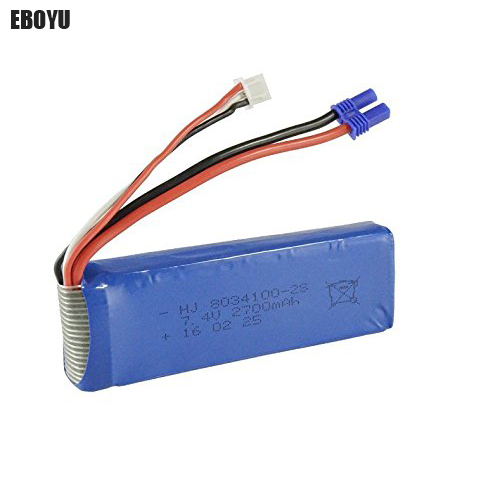 EBOYU (TM) 7.4V 2700mAh 25C Lipo Battery Spare Part for Hubsan H501S H501C X4 FPV RC Quadcopter Drone lipo battery 7 4v 2700mah 10c 5pcs batteies with cable for charger hubsan h501s h501c x4 rc quadcopter airplane drone spare