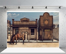 Laeacco Vintage US Western Wooden House Horse Scene Photography Backgrounds Vinyl Customs Camera Backdrops For Photo Studio