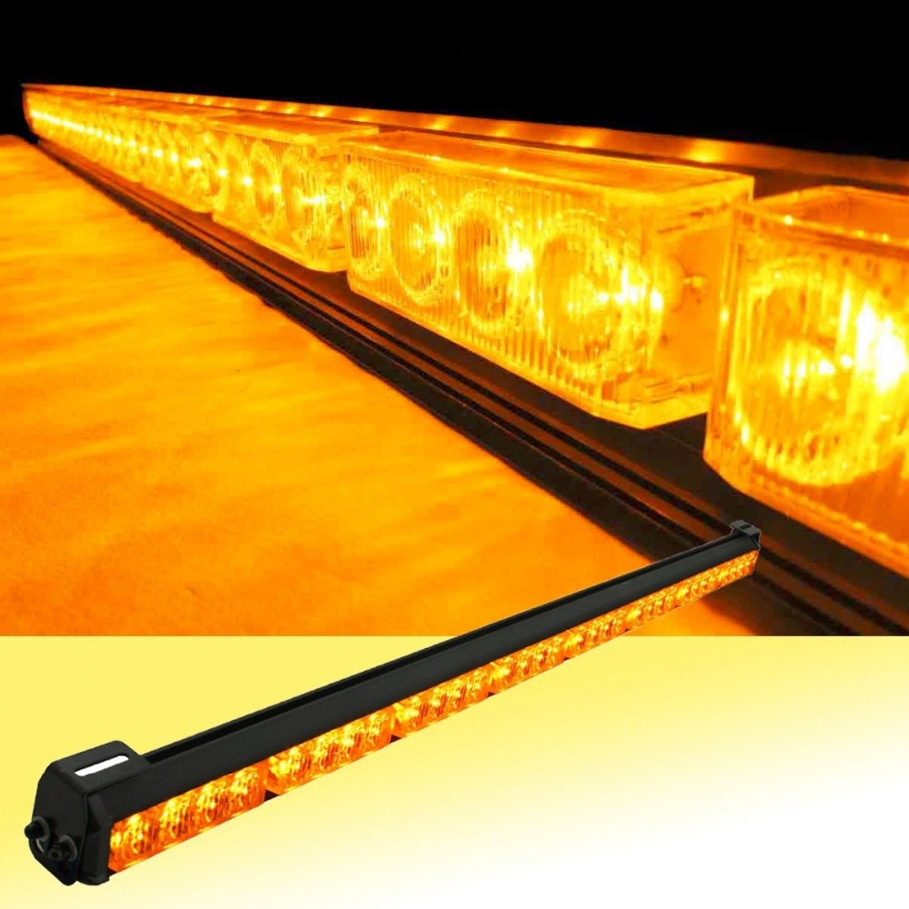 12V or 24V 32 LED 36 Amber Yellow Emergency Traffic Advisor Flash Strobe Light Bar Warning
